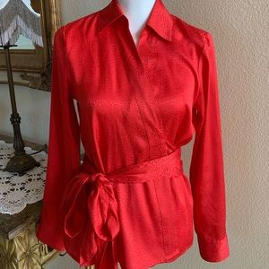 Ann Taylor Red Blouse Size 6